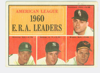 1961 Topps Baseball 46 AL ERA Leaders Very Good to Excellent