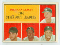 1961 Topps Baseball 50 AL Strikeout Leaders Very Good to Excellent