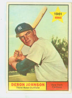 1961 Topps Baseball 68 Deron Johnson New York Yankees Excellent to Excellent Plus