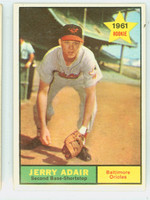 1961 Topps Baseball 71 Jerry Adair Baltimore Orioles Excellent to Excellent Plus