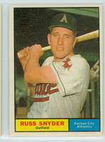 1961 Topps Baseball 143 Russ Snyder Kansas City Athletics Excellent to Mint