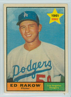 1961 Topps Baseball 147 Ed Rakow Los Angeles Dodgers Excellent to Mint