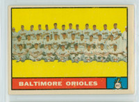 1961 Topps Baseball 159 Orioles Team Excellent to Mint