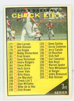1961 Topps Baseball 189 Checklist Three Very Good to Excellent