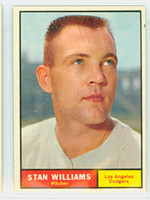 1961 Topps Baseball 190 Stan Williams Los Angeles Dodgers Excellent to Excellent Plus