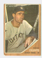 1962 Topps Baseball 20 Rocky Colavito Detroit Tigers Fair to Poor