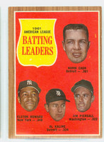 1962 Topps Baseball 51 AL Batting Ldrs Excellent