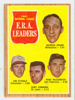1962 Topps Baseball 56 NL ERA Ldrs Very Good
