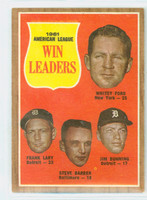 1962 Topps Baseball 57 AL Pitching Ldrs Excellent