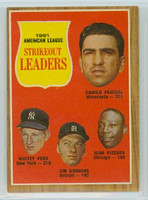 1962 Topps Baseball 59 AL Strikeout Ldrs Excellent to Excellent Plus