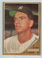 1962 Topps Baseball 65 Bobby Richardson New York Yankees Excellent to Excellent Plus