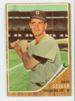 1962 Topps Baseball 117 Gary Geiger Boston Red Sox Very Good Green