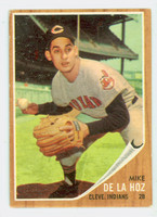 1962 Topps Baseball 123 Mike De La Hoz Cleveland Indians Very Good Green