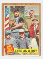1962 Topps Baseball 135 Babe As Boy Excellent to Excellent Plus