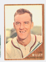 1962 Topps Baseball 174 b Carl Willey NO CAP  Milwaukee Braves Very Good to Excellent