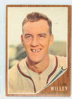 1962 Topps Baseball 174 b Carl Willey NO CAP  Milwaukee Braves Excellent