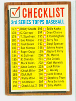 1962 Topps Baseball 192 Checklist Three COMMA  Very Good to Excellent