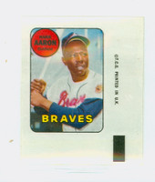 1969 Topps Decals 1 Hank Aaron Atlanta Braves Near-Mint to Mint