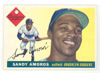 1955 Topps Baseball 75 Sandy Amoros ROOKIE Brooklyn Dodgers Excellent to Mint