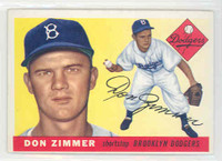 1955 Topps Baseball 92 Don Zimmer ROOKIE Brooklyn Dodgers Excellent to Excellent Plus