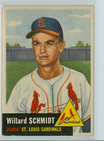 1953 Topps Baseball 168 Willard Schmidt St. Louis Cardinals Very Good