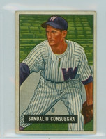 1951 Bowman Baseball 96 Sandy Consuegra Washington Senators Very Good to Excellent