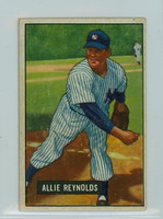 1951 Bowman Baseball 109 Allie Reynolds New York Yankees Very Good to Excellent
