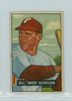 1951 Bowman Baseball 113 Bill Nicholson Philadelphia Phillies Very Good to Excellent