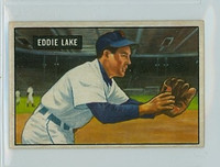 1951 Bowman Baseball 140 Eddie Lake Detroit Tigers Excellent