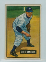 1951 Bowman Baseball 145 Fred Sanford New York Yankees Excellent