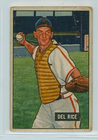 1951 Bowman Baseball 156 Del Rice St. Louis Cardinals Good to Very Good