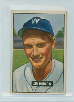 1951 Bowman Baseball 169 Sid Hudson Washington Senators Very Good to Excellent