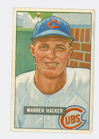 1951 Bowman Baseball 318 Warren Hacker High Number Chicago Cubs Very Good