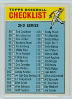1966 OPC Baseball 101 Checklist Two Excellent