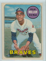 1969 OPC Baseball 210 Felix Millan Atlanta Braves Excellent to Mint