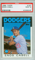1986 Topps Baseball 197 Enos Cabell Los Angeles Dodgers PSA 9 Mint