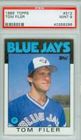 1986 Topps Baseball 312 Tom Filer Toronto Blue Jays PSA 9 Mint