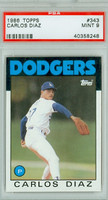 1986 Topps Baseball 343 Carlos Diaz Los Angeles Dodgers PSA 9 Mint