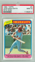 1980 Topps Baseball 4 Pete Rose HL Philadelphia Phillies PSA 9 Mint