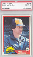 1981 Topps Baseball 449 Paul Mitchell Milwaukee Brewers PSA 9 Mint