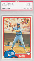 1981 Topps Baseball 492 Barry Foote Chicago Cubs PSA 9 Mint