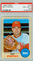 1968 Topps Baseball 74 Milt Pappas Cincinnati Reds PSA 8.5 Near Mint to Mint Plus