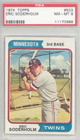 1974 Topps Baseball 503 Eric Soderholm Minnesota Twins PSA 8 Near Mint to Mint