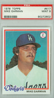 1978 Topps Baseball 417 Mike Garman Los Angeles Dodgers PSA 9 Mint