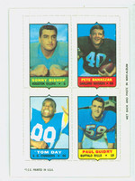 1969 Topps Football 4-1s Bishop|Banaszak|Guidry|Day Excellent to Mint