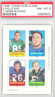 1969 Topps Football 4-1s F.Hill|Koy|Nobis|McRae PSA 8 Near Mint to Mint