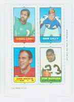 1969 Topps Football 4-1s Lang|Lilly|Butler|Brodie Excellent