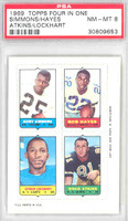1969 Topps Football 4-1s Simmons|Hayes|Atkins|Lockhart PSA 8 Near Mint to Mint [30374751]