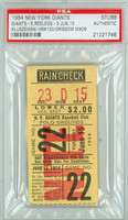 1954 New York Giants Ticket Stub vs Cincinnati Reds Ted Kluszewski Carerer HR #130 - June 15, 1954 [VG-EX]