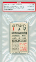 1956 St. Louis Cardinals Ticket Stub vs Milwaukee Braves Warren Spahn Career Win #196 - August 15, 1956 [EX]